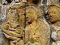 Borobudur - Lalitavistara - 009 E, Goddesses visit Queen Maya who has vowed Celibacy (detail 3) (11248025423).jpg