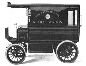 "Boston City Hospital - The Boston City Hospital ""relief station"" at Haymarket Square quartered an ambulance like this, c. 1905"