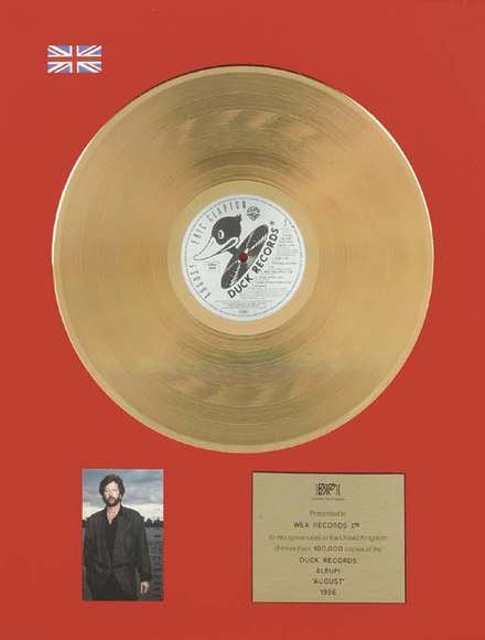 A gold certification for Eric Clapton's album August. Bpiclaptonaugust.jpg
