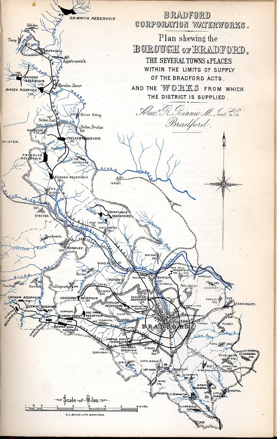 Bradford waterworks map 1881