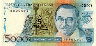 When Brazil changed currencies in 1989, the 1000, 5000, and 10,000 cruzados banknotes were overstamped and issued as 1, 5, and 10 cruzados novos banknotes for several months before cruzado novo banknotes were printed and issued. Banknotes can be overstamped with new denominations, typically when a country converts to a new currency at an even, fixed exchange rate (in this case, 1000:1). Brazil Portinari banknote obverse.jpg