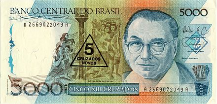 When Brazil changed currencies in 1989, the 1000, 5000, and 10,000 cruzados banknotes were overstamped and issued as 1, 5, and 10 cruzados novos banknotes for several months before cruzado novo banknotes were printed and issued. Banknotes can be overstamped with new denominations, typically when a country converts to a new currency at an even, fixed exchange rate (in this case, 1000:1).