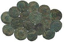 Jumbled pile of Roman coins