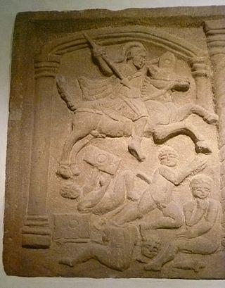 ローマ騎兵の踏みつけでピッツェットを征服した、ブリッジネス・スラブ、ボーネスで発見された紀元142年ごろ、現在はスコットランド国立博物館