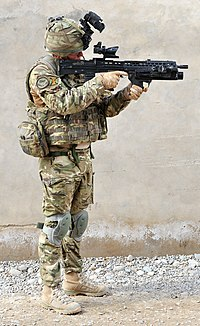 Front view of a British Army soldier in full combat dress