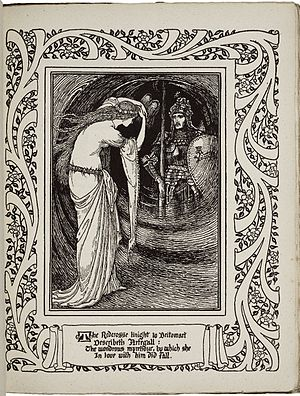The Faerie Queene - Britomart viewing Artegal: an illustration from Book III, Part VII of an 1895-1897 edition