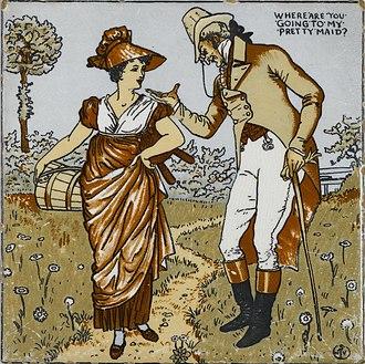 Transfer printing - Tile designed by Walter Crane, c. 1890, made in Wheeling, West Virginia.