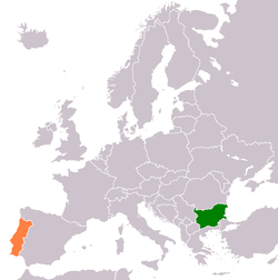 Map indicating locations of Bulgaria and Portugal