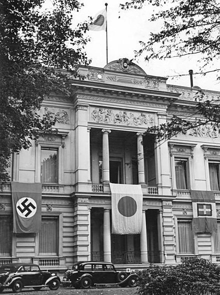 The Japanese embassy in Berlin clad in the flags of the three signatories of the Tripartite Pact in September 1940. Bundesarchiv Bild 183-L09218, Berlin, Japanische Botschaft.jpg