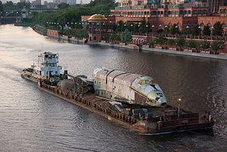 2.01 (Buran-class spacecraft) - Body of 2.01 being towed by barge to Zhukovsky Airfield.
