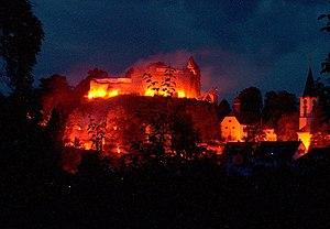 """Lindenfels - Castle floodlighting at Burgfest (""""Castle Festival"""")"""