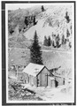 C. 1894 VIEW OF THE ORIGINAL 1891 AMES POWER HOUSE. - Ames Hydroelectric Plant, Ames, San Miguel County, CO HAER COLO,57-AMES.V,2A-1.tif