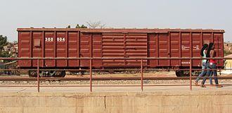 Rail transport in Angola - Box car at Donde railway station