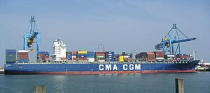 Maritime transport - A container ship belonging to the French shipping line CMA CGM.