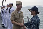 CNO is welcomed aboard USS Sterett during anchorage off the coast of Singapore. (34584095801).jpg