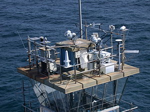Chesapeake Light - COVE instrumentation, which is used to measure incident solar energy, atop the Chesapeake Light. (Credit: NASA)