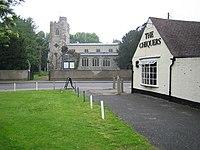 Caddington, All Saints Church and The Chequers Public House - geograph.org.uk - 168876.jpg