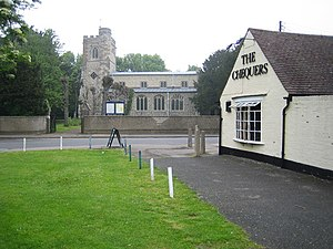 Caddington - Image: Caddington, All Saints Church and The Chequers Public House geograph.org.uk 168876