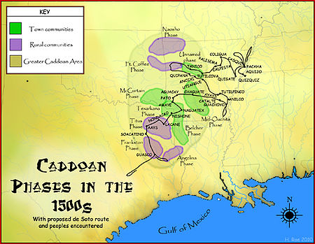 de Soto route through the Caddo area, with known archaeological phases marked Caddoan Phases in the 1520s map HRoe 2010.jpg