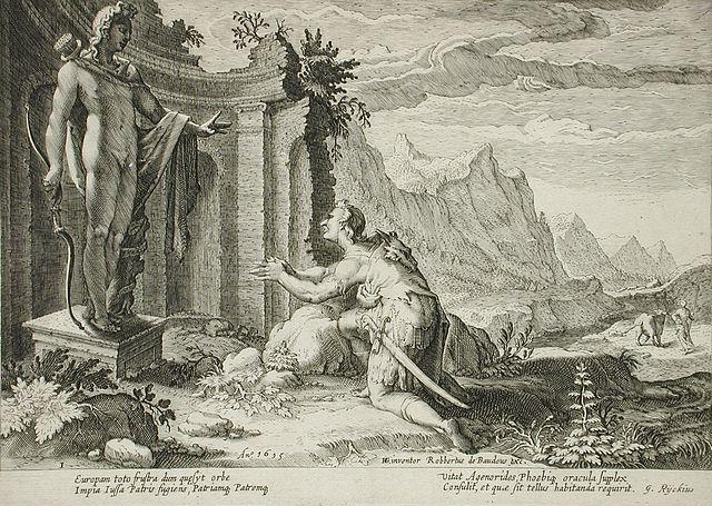 Хендрик Гольциус. Кадм вопрошает Дельфийский оракул о судьбе Европы, гравюра, 1615