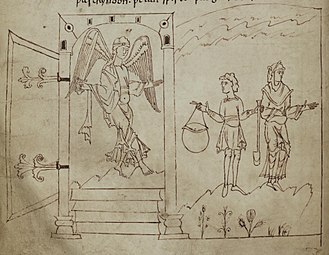 Old English literature - In this illustration from page 46 of the Cædmon (or Junius) manuscript, an angel is shown guarding the gates of paradise.
