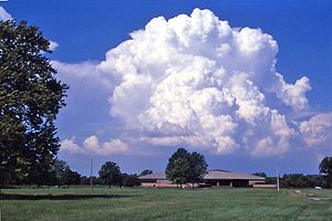 Cumulus congestus cloud - Cumulus congestus cloud over Cahokia Mounds Museum, Collinsville, Illinois
