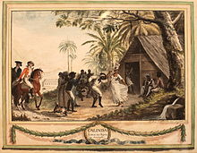 Calinda, dance of the Negroes in America, watercolour by François Aimé Louis Dumoulin