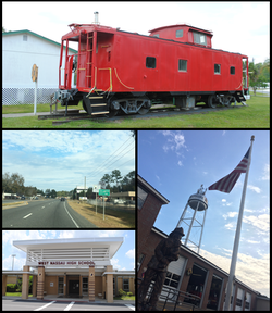 Top, left to right: West Nassau Historical Society, water tower, West Nassau High School, Northeast Florida Fair
