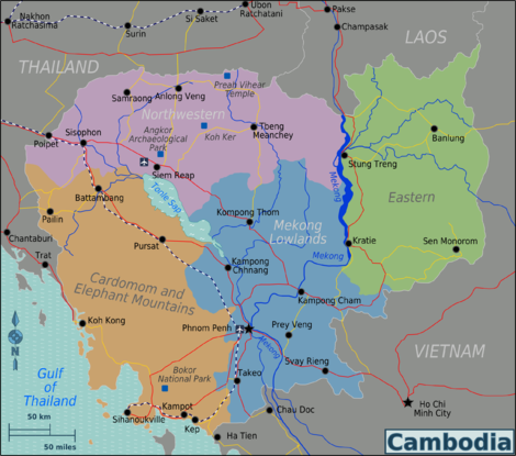 Map of Cambodia with regions colour-coded