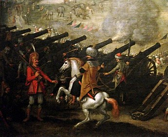 Ottoman siege guns at the Siege of Esztergom, 1543. Painted by Sebastian Vrancks, 17th century. Cannon battery at the Siege of Esztergom 1543.jpg