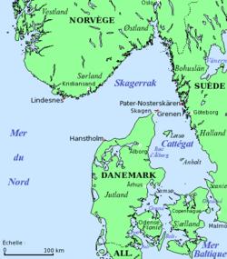Carte du Skagerrak et du Cattégat.