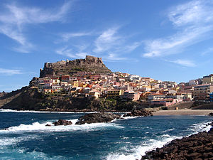 Spanish conquest of Sardinia - View of the town of Castellaragonese (Spanish: Castillo Aragonés)