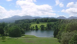 Castlewellan Forest Park - Castlewellan Lake, Castlewellan Forest Park, with the Mourne Mountains in the background