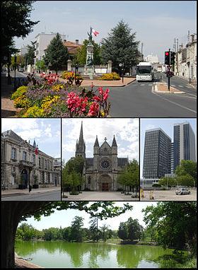 Place du Monument, mairie, église Saint-Amand, cité administrative et parc bordelais.