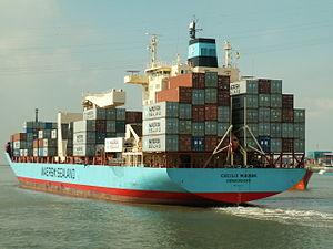 Cecilie Maersk stern Port of Antwerp 13-Sep-2005.jpg