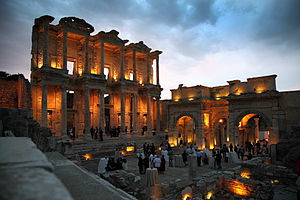 Library of Celsus - Facade of the Library of Celsus at night.