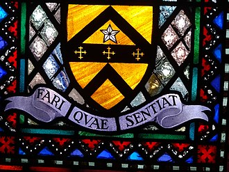 "Chapel in the Wood, Strawberry Hill - Walpole's motto Fari quae sentiat – ""To speak what he feels"""