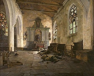 Chouannerie - La Chapelle de La Madeleine à Malestroit (Morbihan) - 15 nivôse an III (The Chapel of La Madelaine in Malestroit), painting by Alexandre Bloch, 1886.
