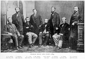 Charles Minot (railroad executive) - Charles Minot and staff, 1864