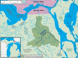 Charlotte River (Michigan) - Image: Charlotte River Michigan map