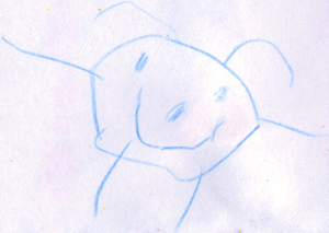Smiling person (combined head and body) age 4½.