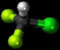 Chlorodifluoromethane 3D ball.png