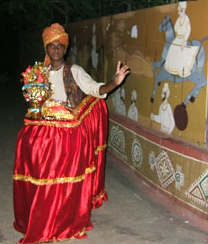 Kachchhi Ghodi dance - A Kachhi Ghodi dancer in a hobby horse costume