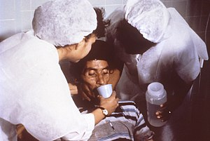 (From source) This cholera patient is drinking...