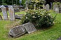 Church of St Andrew's, Boreham, Essex - grave monument and white rose.jpg