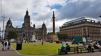 George Square - George Square with the Scott monument in the centre, Glasgow City Chambers to the left and the former Post Office to the right.