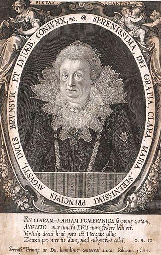 Clara Maria of Pomerania-Barth - Portrait by Lucas Kilian, 1621.