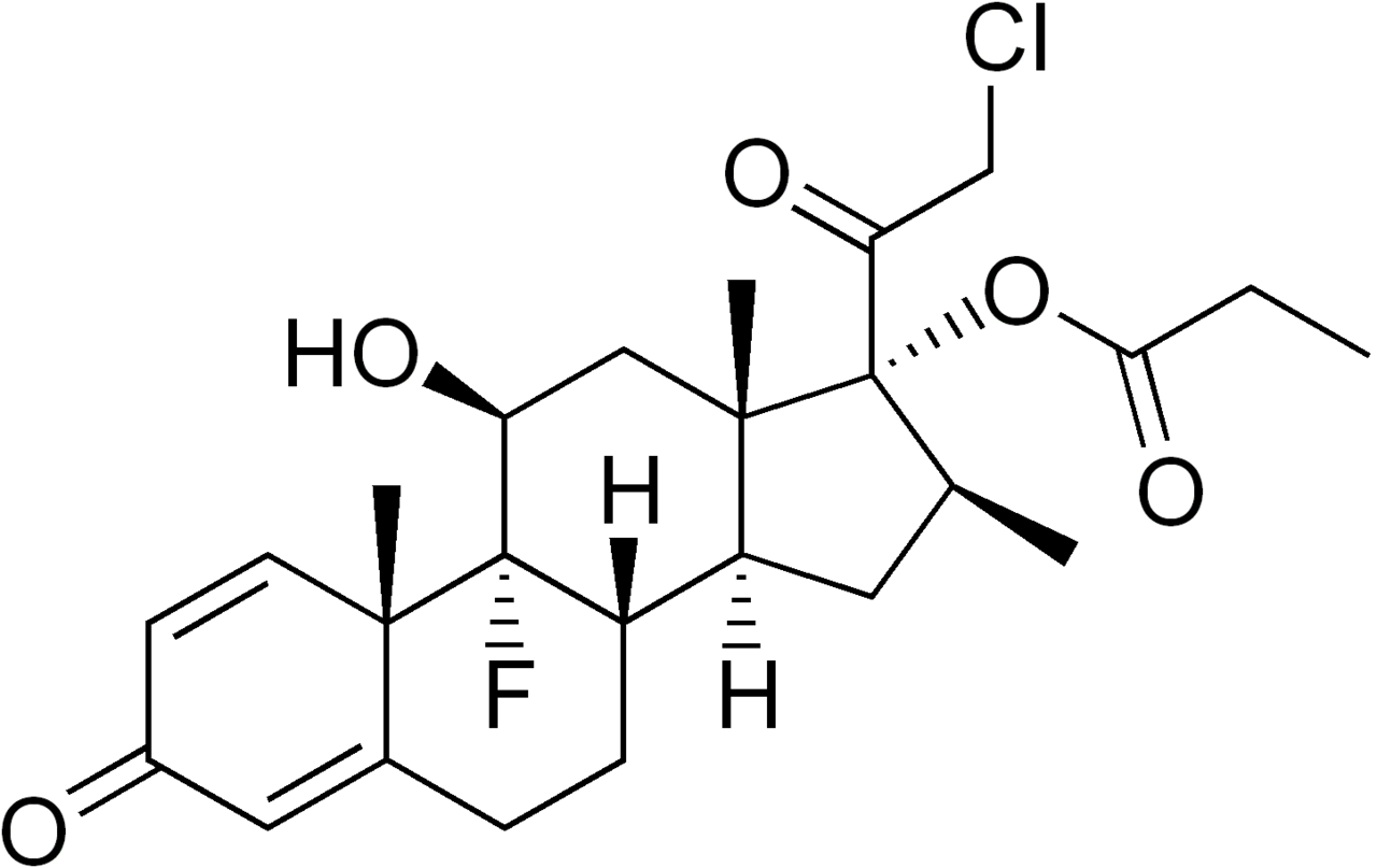 Clobetasol propionate structure.png