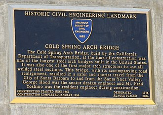 Cold Spring Canyon Arch Bridge - Image: Cold Spring Canyon Arch Bridge ASCE Plaque
