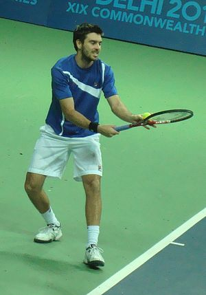 Colin Fleming - Fleming at 2010 Commonwealth Games mixed doubles final match.